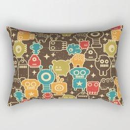 Robots on brown Rectangular Pillow