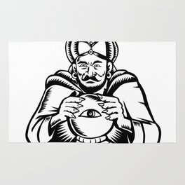 Fortune Teller Eye on Crystall Ball Woodcut Rug
