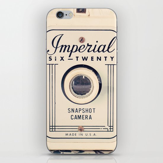Retro Beige Camera on a Violet Paisley Background  iPhone Skin