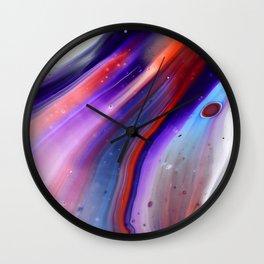 Applause Flow - Vibrant Colorful Rainbow Acrylic Fluid Painting Swirls Blue Red Purple Wall Clock