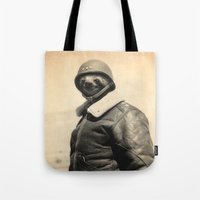 general Tote Bags featuring General Sloth by Bakus