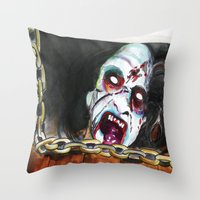 evil dead Throw Pillows featuring The Evil Dead  by Christopher Chouinard