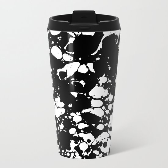 Black and white contrast ink spilled paint mess Metal Travel Mug
