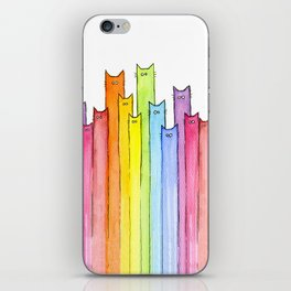 Cat Rainbow Watercolor Whimsical Animals Cats Pattern iPhone Skin