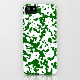 Spots - White and Dark Green iPhone Case
