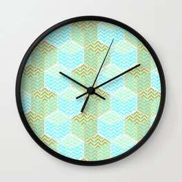 Cubes in teal and golden chevron Wall Clock