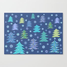 Winter Christmas Trees and Snowflakes in Purple, Blue and Green Canvas Print