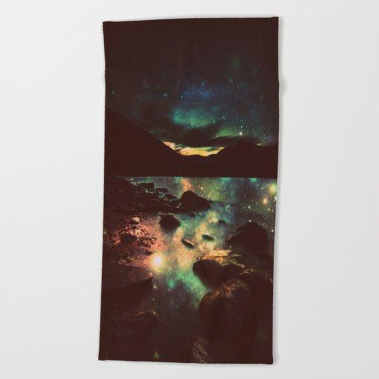 Dark Magical Mountain Lake Beach Towel
