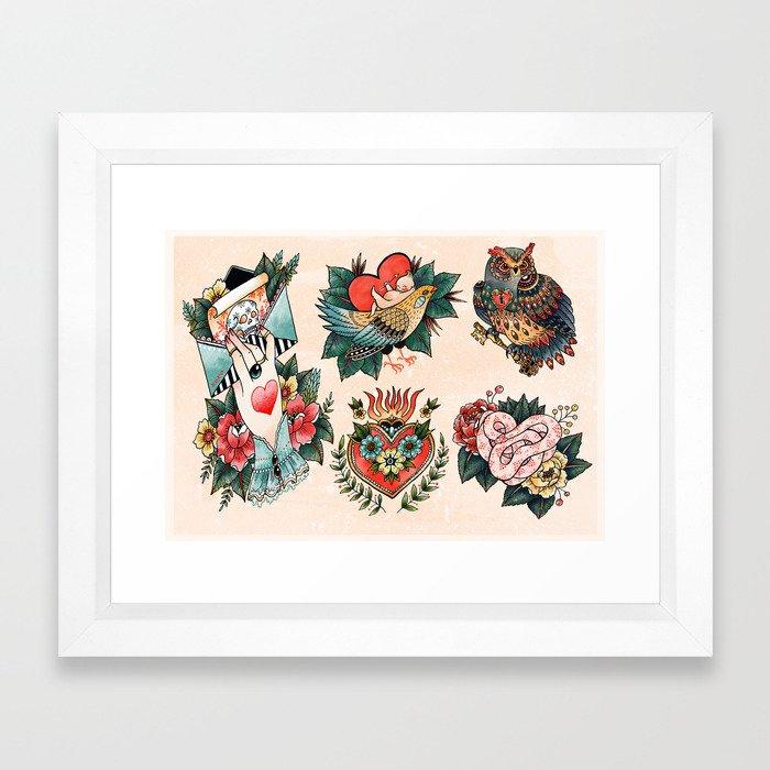 Tattoos of Love Framed Art Print by angelarizza | Society6