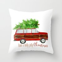 craftberrybush Throw Pillows featuring Christmas Wagoneer  by craftberrybush