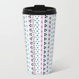 Aztec Influence Pattern III Blue Black Pink White Travel Mug