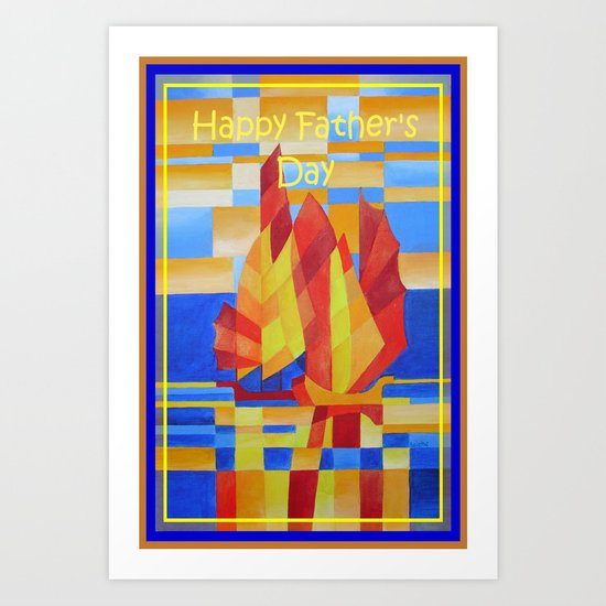 Happy Father's Day Sailing on the Seven Seas so Blue Cubist Abstract  Art Print
