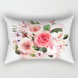 Hand-painted watercolor flower box with peonies and roses illustration on white background Rectangular Pillow