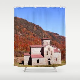 ancient temple in the Caucasus Shower Curtain