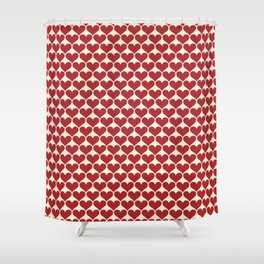 FINN - red hearts on white Shower Curtain