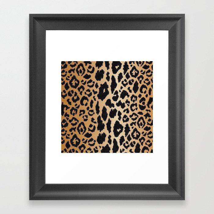 Leopard Print Linen Gerahmter Kunstdruck