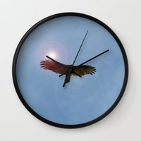 hawk Wall Clocks featuring Hawk by Erica Torres