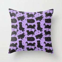Little Black Cats Throw Pillow