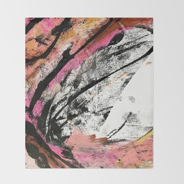Motivation: a colorful, vibrant abstract piece in pink red, gold, black and white Throw Blanket