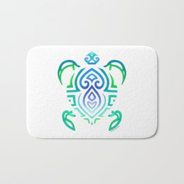 Tribal Turtle on White Bath Mat