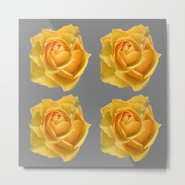 FOUR YELLOW ROSES OF TEXAS ON GREY Metal Print