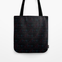 Red stitched love letters with denim blue hearts text Tote Bag