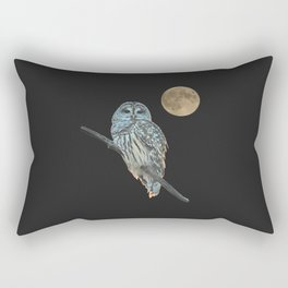 Owl, See the Moon (sq Barred Owl) Rectangular Pillow