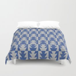 Art Deco Jagged Edge Pattern Blue and Gray Duvet Cover
