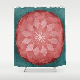 Watercolor Sacred Geometry Red Flower Mandala Shower Curtain