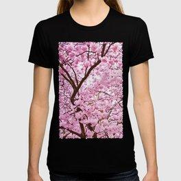Pink Abstract Sakura Flowers Pattern T-shirt