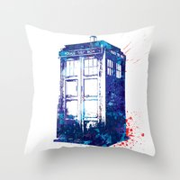 tardis Throw Pillows featuring Tardis by lauramaahs