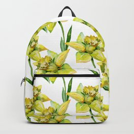 Spring hand painted yellow green watercolor daffodils floral Backpack