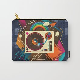 Goodtime Party Music Retro Rainbow Turntable Graphic Carry-All Pouch