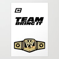 wwe Art Prints featuring Team Bring It The Rock WWE by ems23
