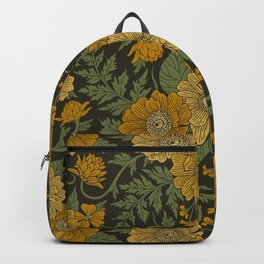Dark Fall/Winter Floral in Yellow & Green Backpack