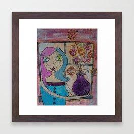 Flowers in her Window Framed Art Print