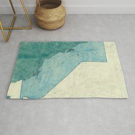 California State Map Blue Vintage Rug