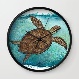 """Hawksbill Sea Turtle"" by Amber Marine ~ Watercolor & Sea Salt Painting, (Copyright 2016) Wall Clock"