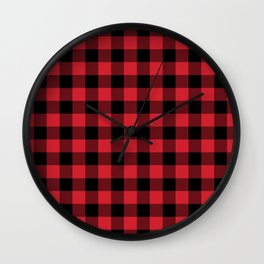Buffalo Plaid Bright Red and Black Pattern Minimal Graphic Design Wall Clock