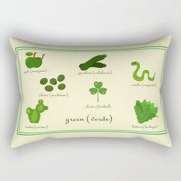 Colors: green (Los colores: verde) Rectangular Pillow