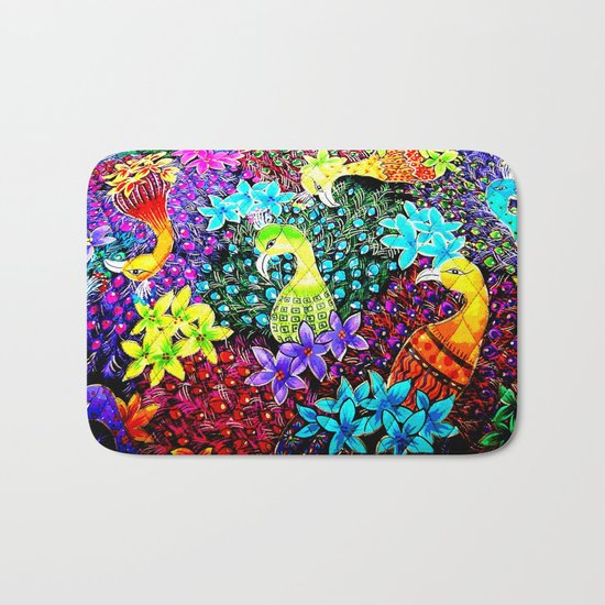 Colored Jungle Birds Bath Mat