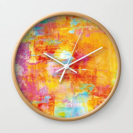 OFF THE GRID Colorful Pastel Neon Abstract Watercolor Acrylic Textural Art Painting Nature Rainbow  Wall Clock