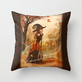 Autumn Witch Throw Pillow