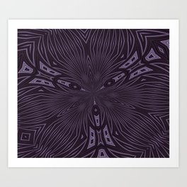 Pale Aubergine and Eggplant Abstract Pattern Kaleidescope Art Print
