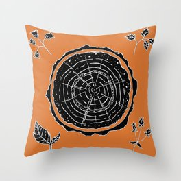 Autumnal Tree Trunk Cross Section with Wildflowers Design Throw Pillow