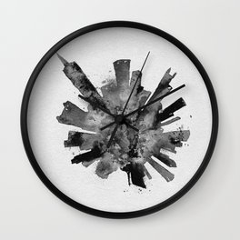 Chicago, Illinois Black and White Skyround / Skyline Watercolor Painting Wall Clock