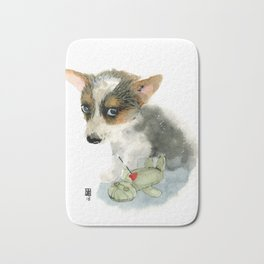 little dog with voodoo doll begging for love Bath Mat