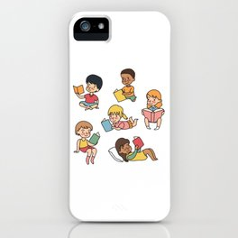 Kids Reading Books iPhone Case