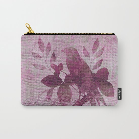 Paradiese Bird mixed media collae art Carry-All Pouch