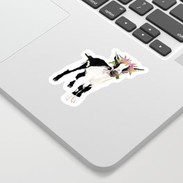 Black and White Goat with Flower Crown Sticker